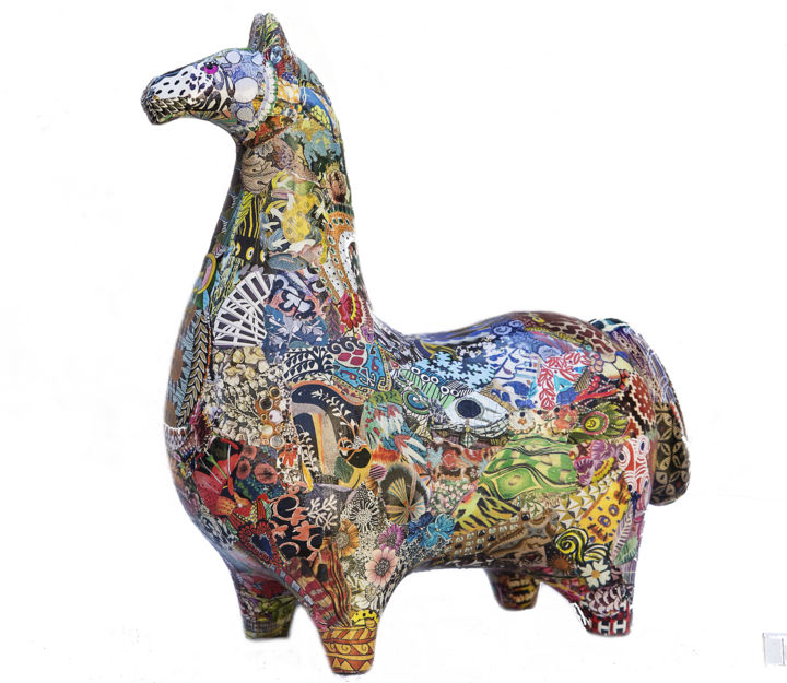 Cheval Takhi - Collages,  38x37x17 cm ©2018 by marie christine Normand Campos -                                            Paper arts, Animals, collage animaux sculpture