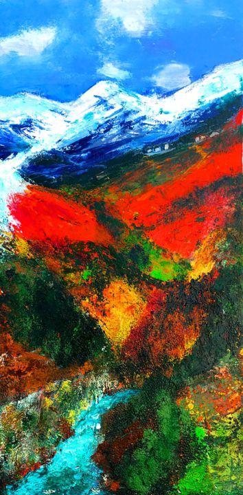Dans le grand silence... - Painting,  60x30 cm ©2018 by Marie Claude Lambert -                            Canvas, montagne, glacier, torrent, fraîcheur, couleurs