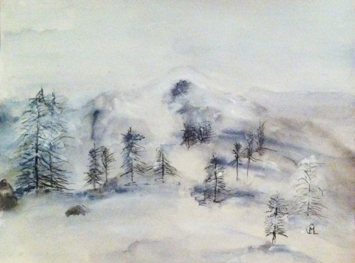 Paysage d'hiver - Painting,  9.8x11.8 in, ©2014 by Marie Claude Lambert -                                                                                                                                                      montagne, neige, sapins