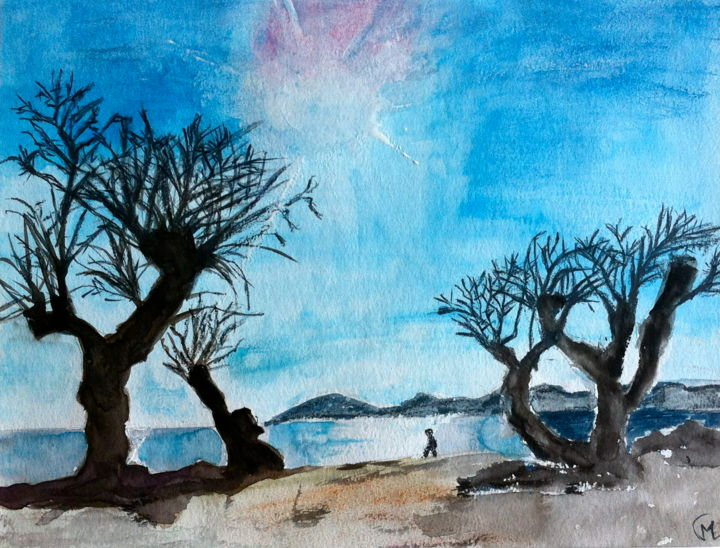 Rayon blanc - Painting,  9.5x12.6 in, ©2015 by Marie Claude Lambert -                                                                                                                                                                                                  rayon, plage, arbres, marcheur