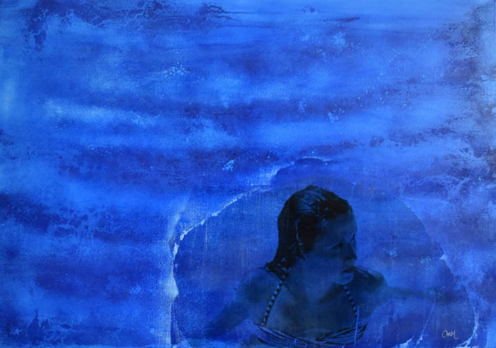 """Painting titled """"Swimming, Claire"""" by Marie Hérault-Luzé, Original Art, Pigments"""