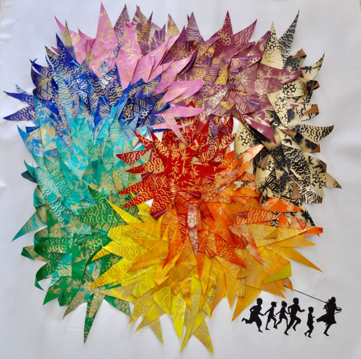 """Painting titled """"The Origami Crane (…"""" by Marie-Jose Ged, Original Art, Acrylic Mounted on Stretcher frame"""