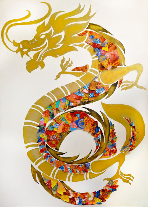"""Painting titled """"The Dragon (part of…"""" by Marie-Jose Ged, Original Art, Acrylic Mounted on Stretcher frame"""