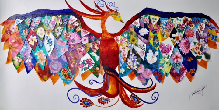 """Painting titled """"The Flower Phoenix"""" by Marie-Jose Ged, Original Art, Oil Mounted on Stretcher frame"""