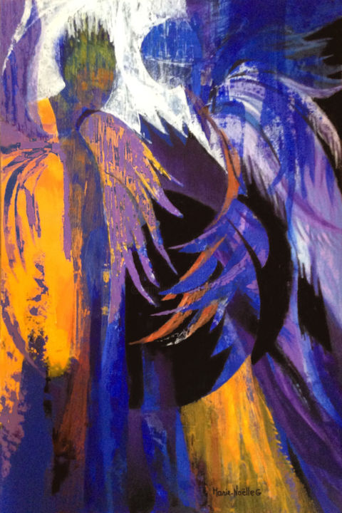 des ailes et des anges - Painting,  35.8x24 in, ©2018 by Marie-Noëlle Gagnan -                                                                                                                                                                                                                                                                                                                                                                                                                                                      Abstract, abstract-570, Angels, Spirituality, anges, présence, accompagnement, soutien, spiritualité