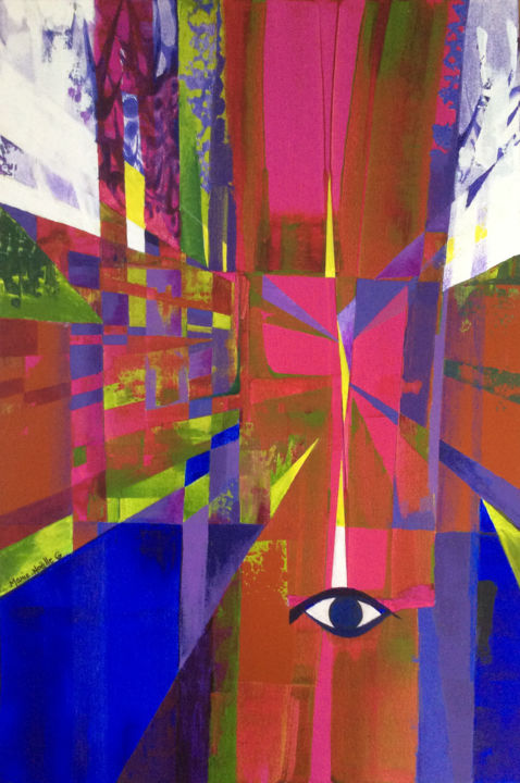 clairvoyance - Painting,  35.8x24 in, ©2019 by Marie-Noëlle Gagnan -                                                                                                                                                                                                                                                                                                                                                                                                          Abstract, abstract-570, Abstract Art, Colors, Spirituality, clairvoyance, perspective, netteté