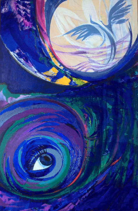décroche-moi la lune - Painting,  91x61 cm ©2019 by Marie-Noëlle Gagnan -                                                                                        Abstract Art, Symbolism, Abstract Art, Outer Space, Birds, Spirituality