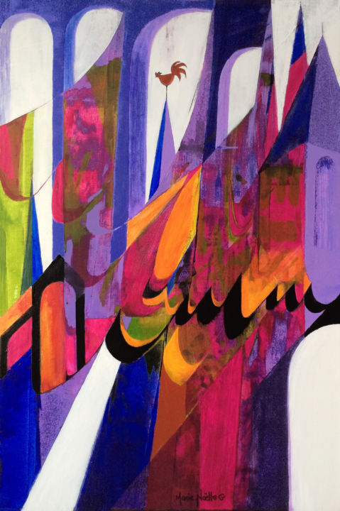 le chant des cathédrales - Painting,  35.8x24x0.8 in, ©2020 by Marie-Noëlle Gagnan -                                                                                                                                                                                                                                                                                                                                                                                                                                                                                                                                                                                                                                      Abstract, abstract-570, Architecture, Calligraphy, Colors, Culture, Spirituality, cathédrales, lumière, couleurs, vitraux, clochers, Moyen-Âge