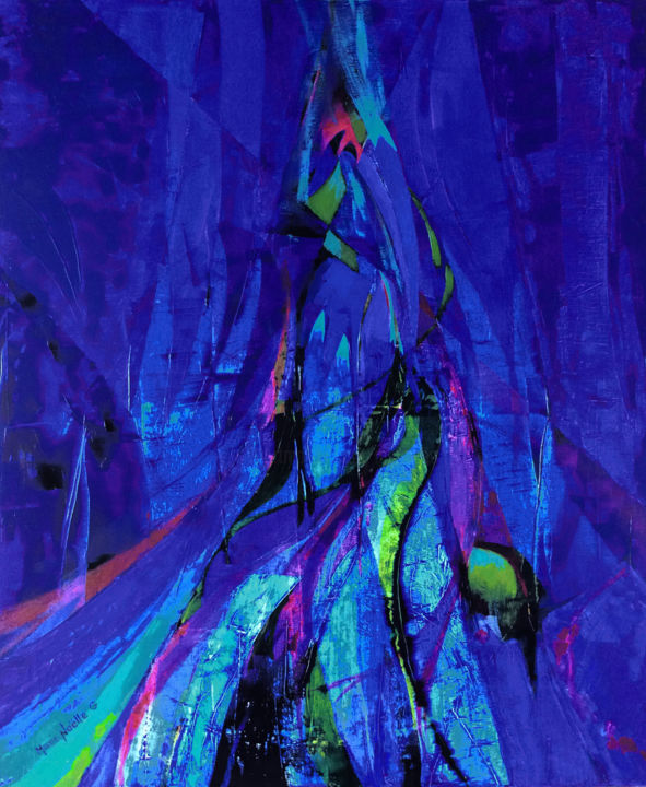 aqua - Painting,  35.8x29.9x0.8 in, ©2020 by Marie-Noëlle Gagnan -                                                                                                                                                                                                                                                                                                                                                                                                                                                                                                                                              Abstract, abstract-570, Abstract Art, Colors, Water, Seascape, Spirituality, eau, vie, nature, source