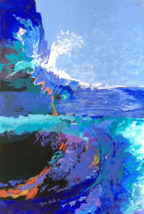 """Painting titled """"surface et profonde…"""" by Marie-Noëlle Gagnan, Original Art, Acrylic"""