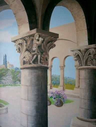 cloître - Painting,  144x100 in, ©2000 by Marie-Noëlle Gagnan -                                                                                                                                                                                                                                                                  Hyperrealism, hyperrealism-612, ouverture, moyen-âge, chapiteau