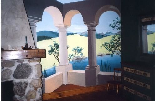 l'étang - Painting,  96x120 in, ©1999 by Marie-Noëlle Gagnan -                                                                                                                                                                                                                                                                  Hyperrealism, hyperrealism-612, ouverture, patio, jardin