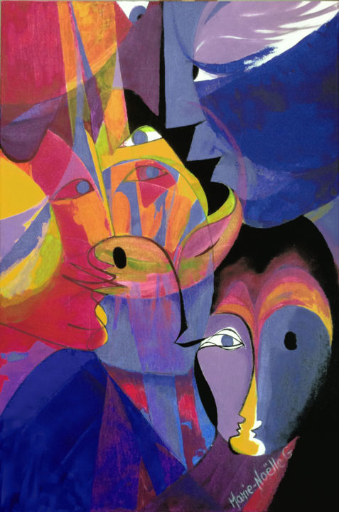derrière les masques - Painting,  35.8x24 in, ©2016 by Marie-Noëlle Gagnan -                                                                                                                                                                          Abstract, abstract-570, Fantasy