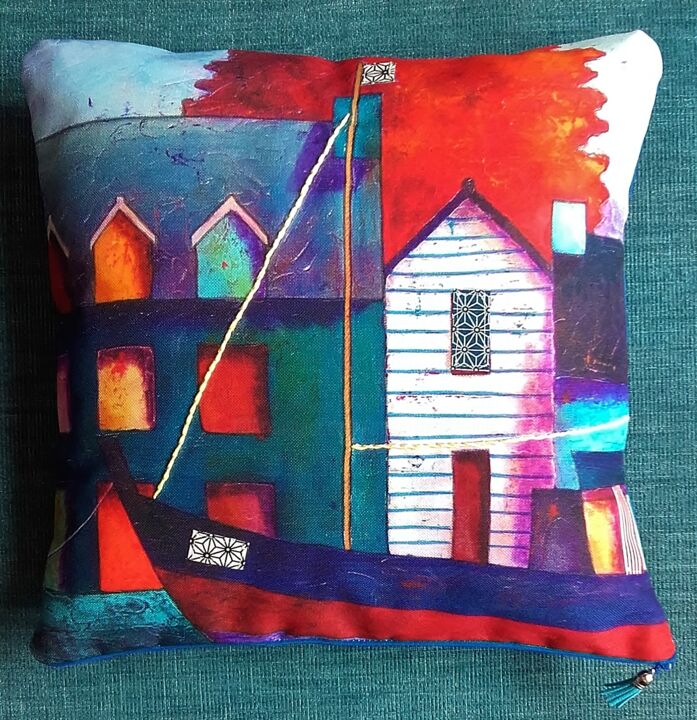 n-24.jpg - Artcraft,  38x38x8 cm ©2019 by marie-pierre JAN -                                                            Naive Art, Cotton, Seascape, coussin pièce unique