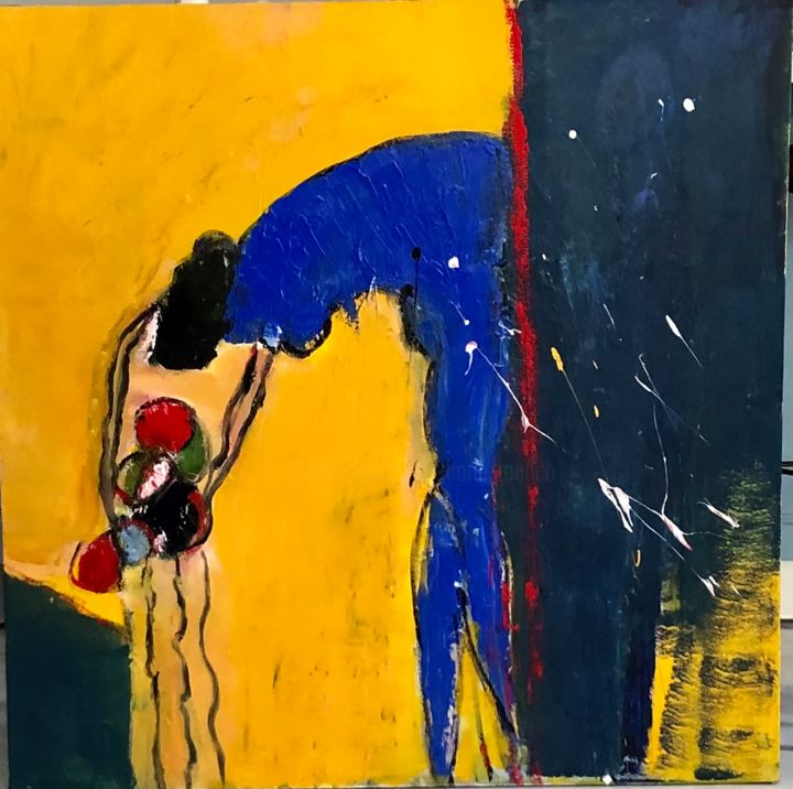"""Painting titled """"Abstract   Jaune bl…"""" by Marie Rouach, Original Art, Acrylic"""