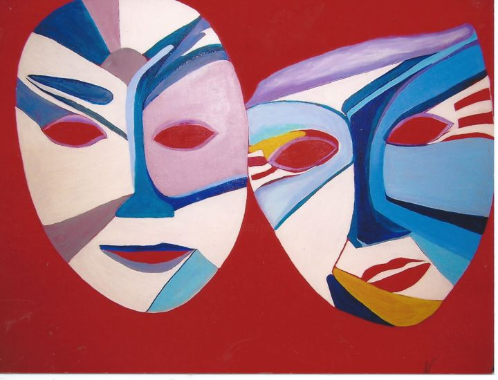 052.jpg  les  masques - Painting,  50x70 cm ©2019 by Marie-Ange -                                                            Symbolism, Canvas, Abstract Art, carnaval, les masques, acrylique