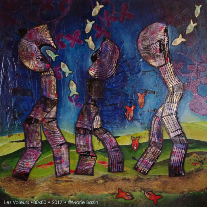 LES VOLEURS - Painting,  80x80x2.5 cm ©2017 by Marie Bazin -                                    Outsider Art, Surrealism