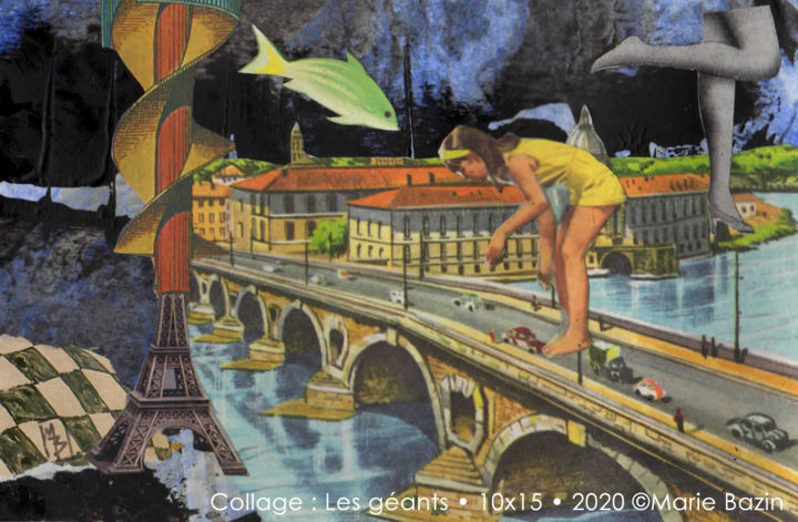 LES GÉANTS - Collages,  3.9x5.9x0.3 in, ©2020 by Marie Bazin -                                                                                                                                                                                                                                                                                                                                                                                                                                                                                                  Surrealism, surrealism-627, Performing Arts, Kids, Cityscape, Car, collage, marie bazin, petit format, petit prix