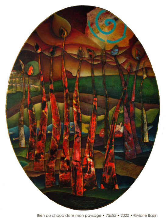 """Painting titled """"AU CHAUD DANS MON P…"""" by Marie Bazin, Original Art, Acrylic Mounted on Stretcher frame"""