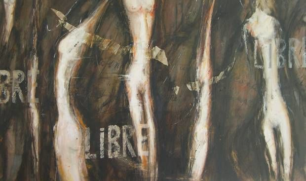 Libre... - Painting,  27.6x48 in, ©2007 by Marie-Pierre Lévêque -