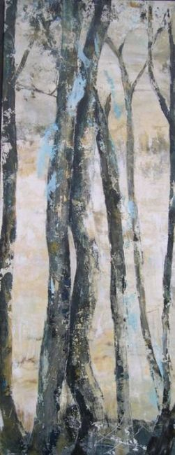 à l'orée - Painting,  47.2x18.1 in, ©2011 by Marie-Pierre Lévêque -                                                                                                                          Abstract, abstract-570