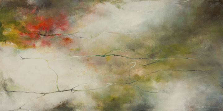 Huile-sans titre - 81 - format 80x40cm - Painting,  15.8x31.5 in, ©2014 by Marie-Pierre Lévêque -                                                                                                                                                                          Abstract, abstract-570, Abstract Art