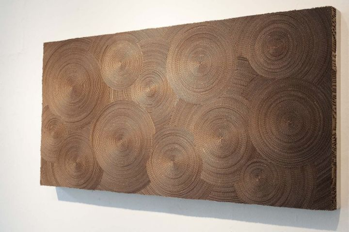 Cardboard wall art piece HYPNOTIC - Murale en carton HYPNOTIC - Design,  60x120x8 cm ©2013 by Marie José Gustave -                                                            Paper arts, Paper, Home, Carton, papier, métiers d'art - design - interieur - cardboard - paper - fine art - recyclé - recycled - environnement - sustainable