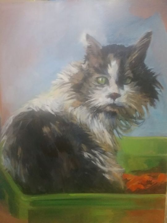 Monsieur le chat - Peinture,  23,6x31,5x0,4 in, ©2018 par Gerard -                                                                                                                                                                                                                                                                      Figurative, figurative-594, Animaux, chat, animal