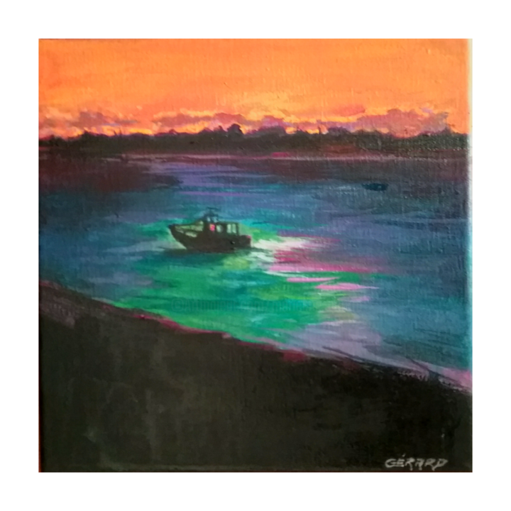 Obscurité - Painting,  20x20 cm ©2018 by Gerard -                                                                                Environmental Art, Figurative Art, Canvas, Boat, Seascape