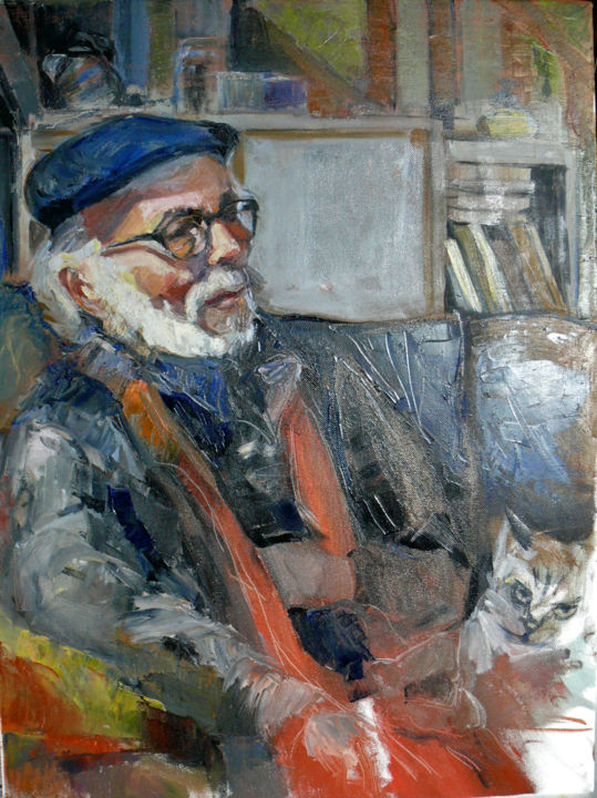 repos - Painting ©2015 by Gerard -                                                            Figurative Art, Canvas, Portraits, chat, homme, barbe, portrait