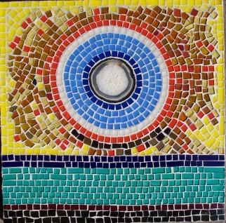 mosaico acrílico - Painting,  15.8x15.8 in, ©2004 by Mariel Trill Guillot -