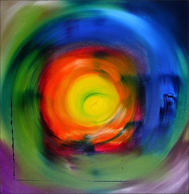 Force vive - Painting,  19.7x19.7 in, ©2009 by Marie-Noëlle DAUBANAY -                                                                                                                                                                          Expressionism, expressionism-591, Force vive