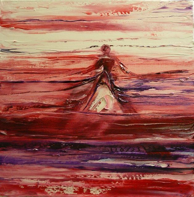 Horizon Elle - Painting,  15.8x15.8 in, ©2010 by Marie-Noëlle DAUBANAY -                                                                                                                          Expressionism, expressionism-591