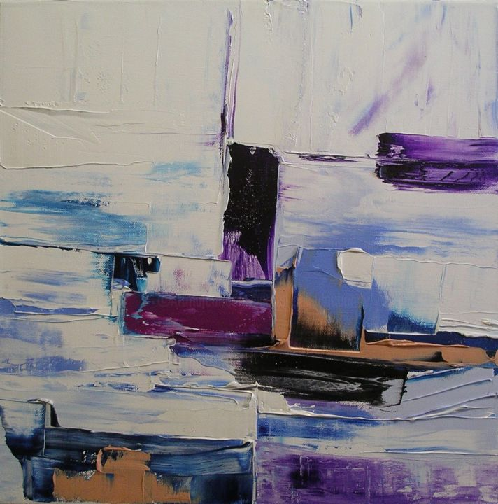Le chenal - Painting,  40x40 cm ©2014 by Marie-Noëlle DAUBANAY -