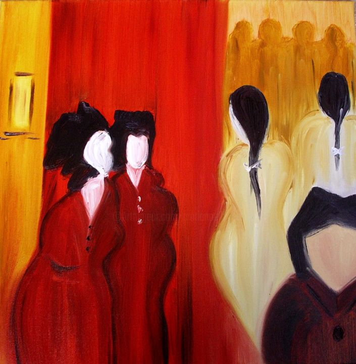 Silhouettes femmes - Painting,  19.7x19.7 in, ©2014 by Marie-Noëlle DAUBANAY -
