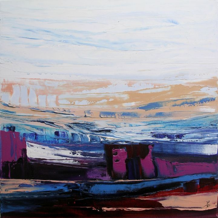 Le chenal 3 - Painting,  40x40 cm ©2014 by Marie-Noëlle DAUBANAY -