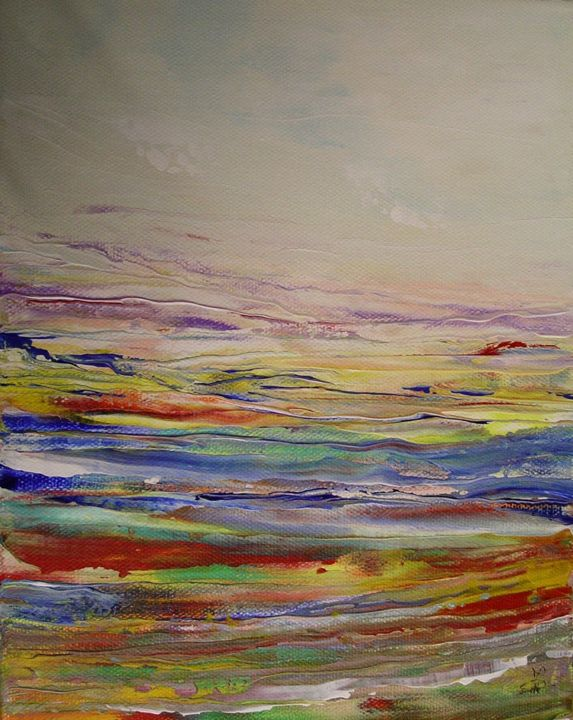 Lande lumiere 7 - Painting,  9.5x7.1 in, ©2014 by Marie-Noëlle DAUBANAY -