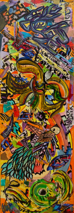 Forces de Vie - Painting,  59.1x19.7x1.6 in, ©2018 by Marie Odile Houver -
