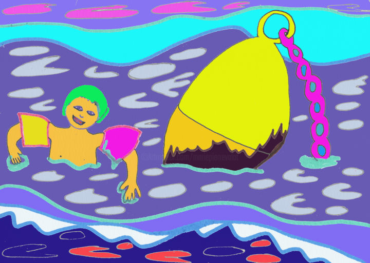 Les plagistes : la baignade avant l'orage - Digital Arts ©2019 by Marie-Pierre Valat -                                                                                                                                Figurative Art, Naive Art, Fauvism, Illustration, Colors, Kids, Light, Seascape, Beach, bouée