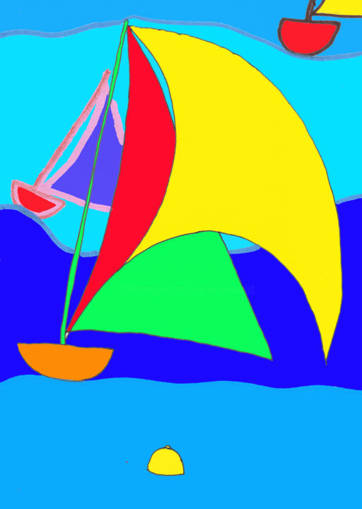 Bateaux sur l'eau - Digital Arts ©2019 by Marie-Pierre Valat -                                                                                                                                Figurative Art, Naive Art, Fauvism, Illustration, Boat, Sailboat, Colors, Light, Seascape, mer, vagues
