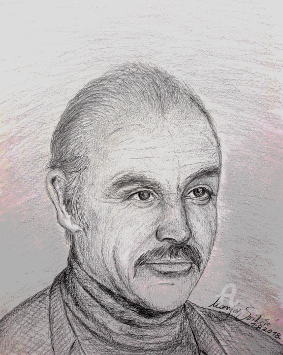 portret-sean-connery.png - Painting,  30x21 cm ©2018 by Marija Svilicic -                                            Realism, Paper, Crtez olovkom