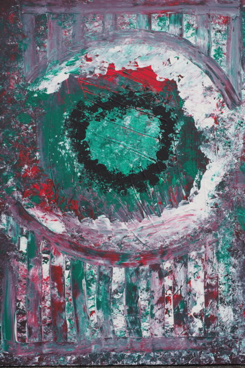 """Painting titled """"Grünes Auge / Green…"""" by Marijo Popovic, Original Art, Acrylic"""