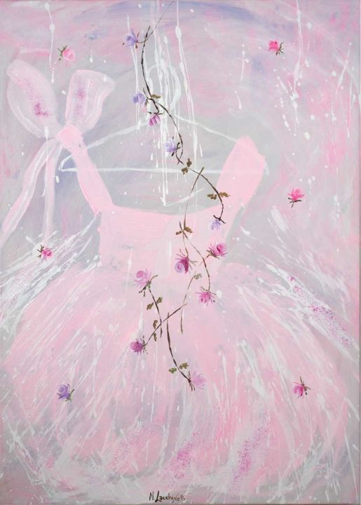 **BABY PINK** - Painting,  70x50 cm ©2015 by Marilena Lacchinelli -            Shabby chic, Lacchinelli, Paintings, tulle, balletto, danza, tutu, rose, shabby, tutu', tutu paintings