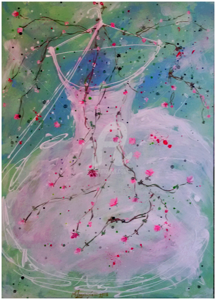 **Tutu Dolce Nuvola** - Painting,  70x50 cm ©2015 by Marilena Lacchinelli -            shabby, Marilena, Lacchinelli, Paintings, rose, tutus
