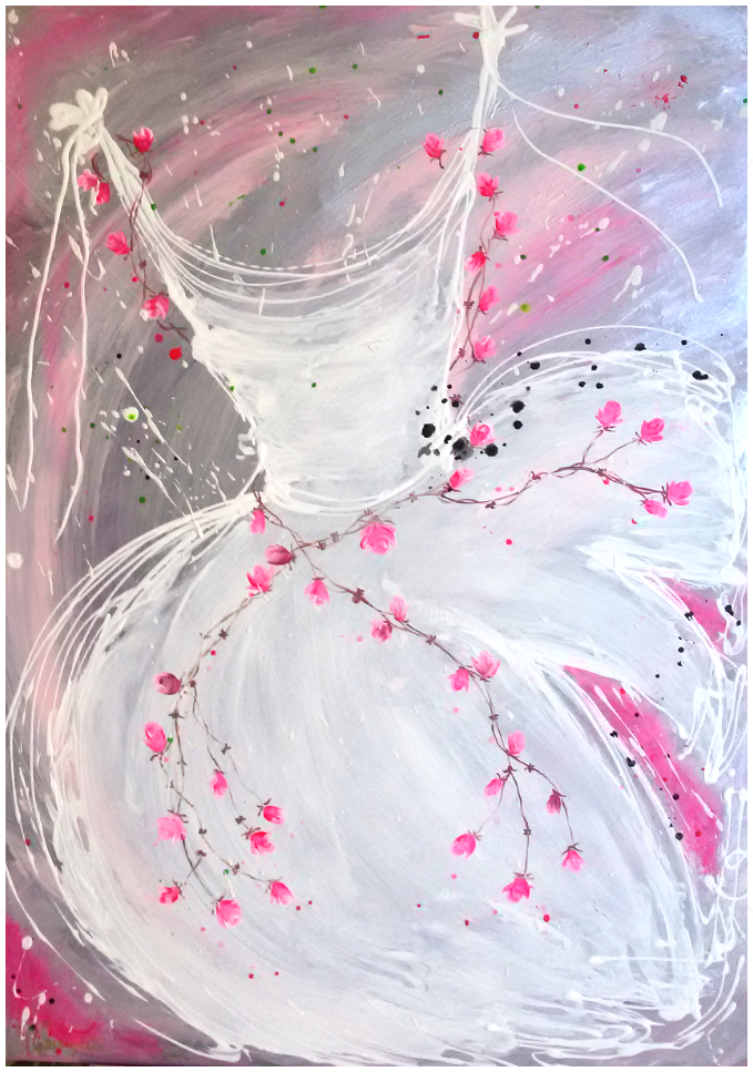 **Tutus Butterfly** - Painting,  70x50 cm ©2015 by Marilena Lacchinelli -            Marilena Lacchinelli, Paintings, shabby chic, tutus, roses