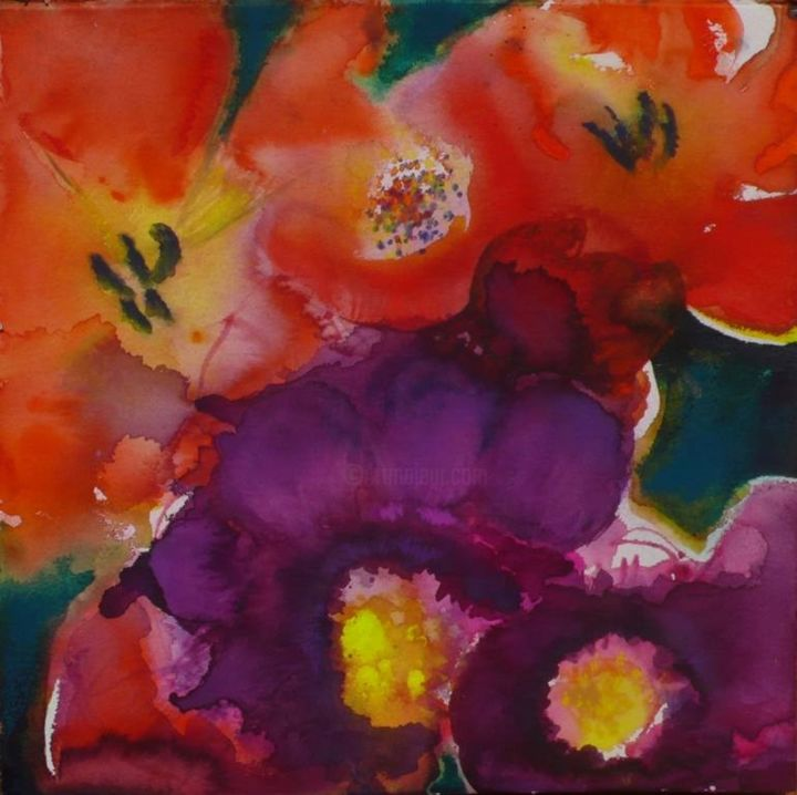 """Painting titled """"Flowers Forms"""" by Simler Marilyn, Original Art, Watercolor"""