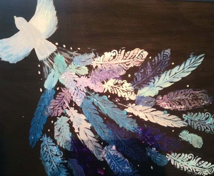 Plumes - Painting,  16x20 in, ©2019 by Mjoly -