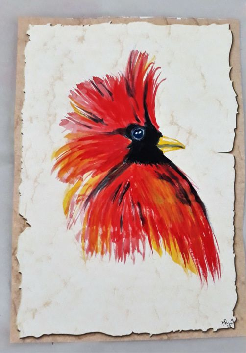 Red cardinal - Zeichnungen,  11,8x8,3 in, ©2019 von Marie Ruda -                                                                                                                                                                                                                                                                                                                  Figurative, figurative-594, artwork_cat.Birds, Red cardinal, bird, vogel
