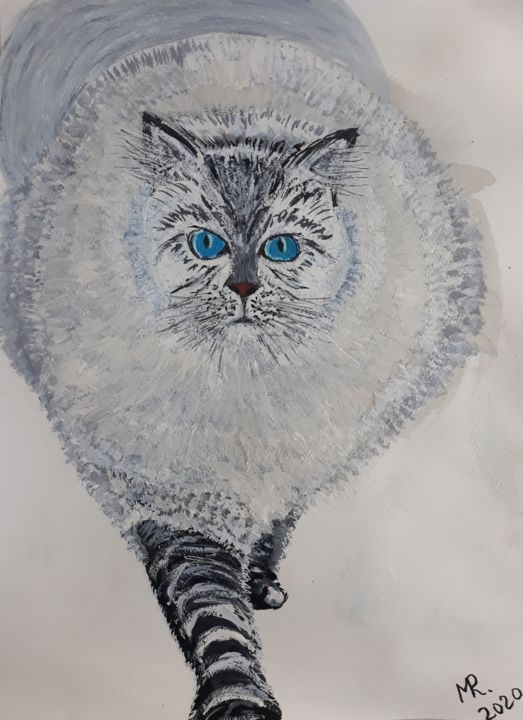 My good old gray cat... - Painting,  12.6x9.5 in, ©2020 by Marie Ruda -                                                                                                                                                                                                                                                                                                                                                                                                          Figurative, figurative-594, artwork_cat.Cats, cat, gray cat, cats, watercolor, paper