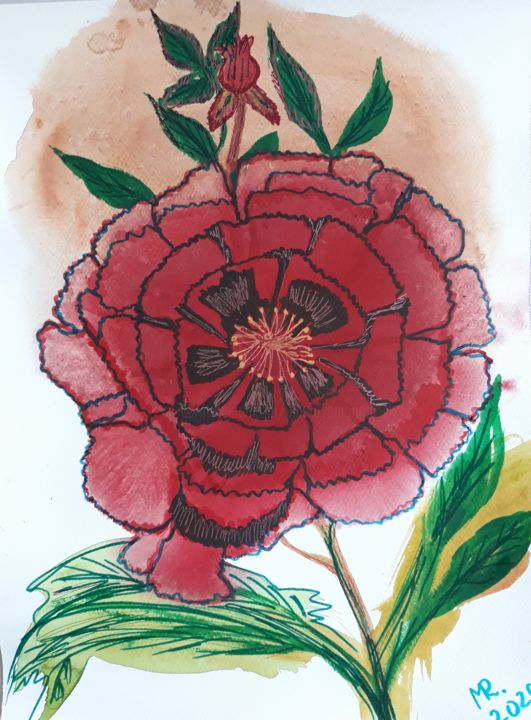July flower. - Painting,  12.2x9.1 in, ©2020 by Marie Ruda -                                                                                                                                                                                                                                                                                                                                                                                                          Illustration, illustration-600, Flower, flowers, flower, red, botanic, watercolor